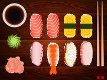 生鱼片集合大豆SAUSE姜筷子木头5 库存图片