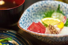 生鱼片-日本盘,东京,日本 特写镜头 库存照片