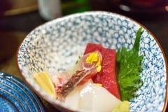生鱼片-日本盘,东京,日本 特写镜头 免版税库存照片