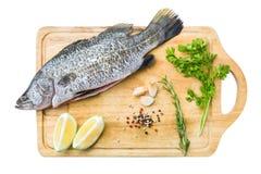 生鱼用柠檬、草本和大蒜在木切板,被隔绝 免版税库存图片