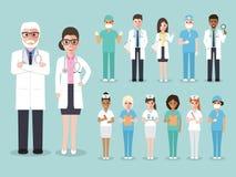 医生,医疗和医护人员队字符 免版税库存图片