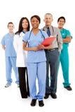 医生:非裔美国人的医生Heads Up Group 免版税库存照片