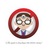 医生(一个苹果每天保持医生去) 免版税库存图片