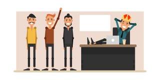 生活在办公室 初级职工在主任办公室 向量例证