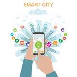 生活在有先进的聪明的服务的一个聪明的城市和被增添的现实,社会网络,事,象互联网  向量例证
