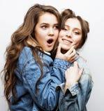 生活方式人概念:两相当时髦的现代获得行家青少年的女孩乐趣一起,愉快的微笑的制造的selfie 库存图片