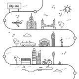 生活旅行线设计城市 库存图片