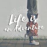 生活是冒险旅途探索旅行目的地移动 免版税库存图片
