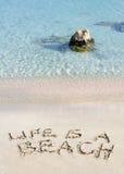生活是在白色沙子写的海滩消息,与热带海波浪在背景 免版税图库摄影