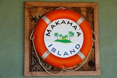 生活bouy在墙壁上在Makaha `海岛在汤加塔布岛海岛附近我 免版税库存照片