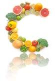 维生素C富有的水果和蔬菜字母表 库存图片