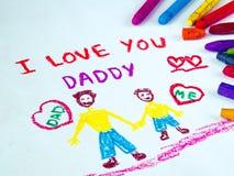 生` s与我爱你爸爸消息的天题材 库存照片