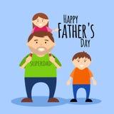 生` s与爸爸和孩子的天卡片 向量例证