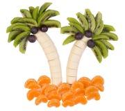 用一个滑稽的方式供食的果子 库存图片