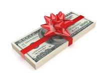 用一条红色丝带装饰的盒美元。 库存照片