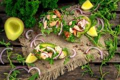 用三文鱼、红洋葱和芝麻菜充塞的鲕梨小船 概念健康食物 免版税库存照片