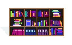用不同的书的大书橱 免版税库存图片