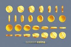 用不同的位置被设置隔绝的金币 免版税库存图片