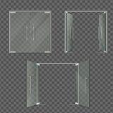 用不同的位置设置的透明玻璃门 向量例证
