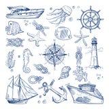用不同的动物和海洋对象的海或海洋水下的生活 传染媒介在手中生动描述被画的样式 皇族释放例证