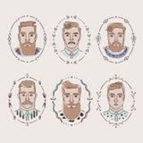 用不同的发型、胡子和髭的人 图库摄影