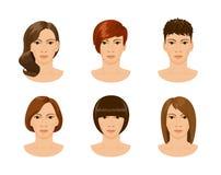 用不同的发型的年轻女性面孔 免版税库存图片