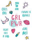 用不同的女权标志的色的GRLÂ PWRÂ女孩力量海报 向量例证