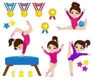 用不同的姿势设置的体操逗人喜爱的女孩 库存图片