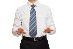 用不同的姿态手的商人 免版税库存照片