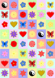 用不同的对象的背景五颜六色的长方形 库存图片