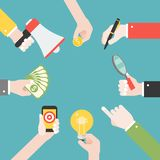 用不同的对象的许多不同的企业手,例如锂 向量例证