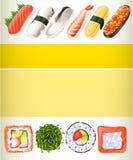 用不同的寿司卷的海报设计 库存照片