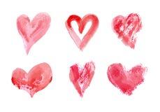 用不同的工具的手拉的传染媒介心脏集合象刷子,白垩,墨水 向量例证
