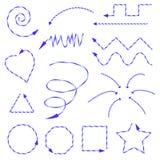 用不同的形式和方向画的蓝色箭头 免版税库存图片