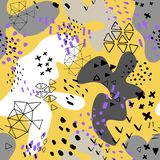 用不同的形状和纹理的创造性的乱画艺术倒栽跳水 r 颜色飞溅抽象动画片背景 库存例证