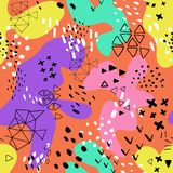 用不同的形状和纹理的创造性的乱画艺术倒栽跳水 r 颜色飞溅抽象动画片背景 向量例证