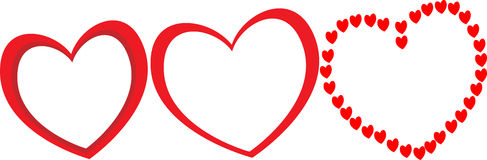 用不同的形状的三大红色心脏作为夫妇照片的框架为情人节 库存照片