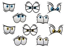 用不同的情感的动画片眼睛 库存图片