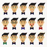 用不同的情感的男性角色 免版税库存图片