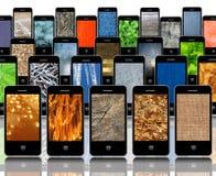 用不同的抽象纹理的手机 免版税库存照片