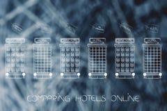 用不同的提议和条件的旅馆在上面价牌 图库摄影