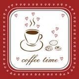 用不同的曲奇饼的手拉的咖啡杯 与文本Cof的卡片 免版税库存照片