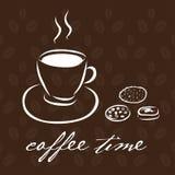 用不同的曲奇饼的手拉的咖啡杯 与文本Cof的卡片 图库摄影