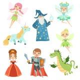 用不同的服装设置的童话字符 独角兽公主,滑稽的 巫术师、龙和骑士 下载例证图象准备好的向量 库存例证