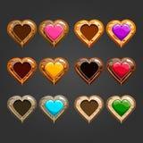 用不同的木心脏的大集合 库存照片