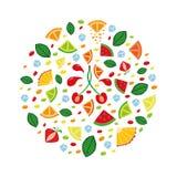 用不同的果子切片的概念性例证 免版税库存图片