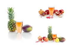 用不同的果子的拼贴画在白色背景 免版税库存照片