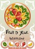 用不同的果子的板材 免版税库存图片