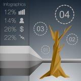 用不同的标志的低多角形infographics树 皇族释放例证