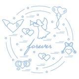 用不同的爱标志的逗人喜爱的传染媒介例证:心脏, ai 免版税库存照片